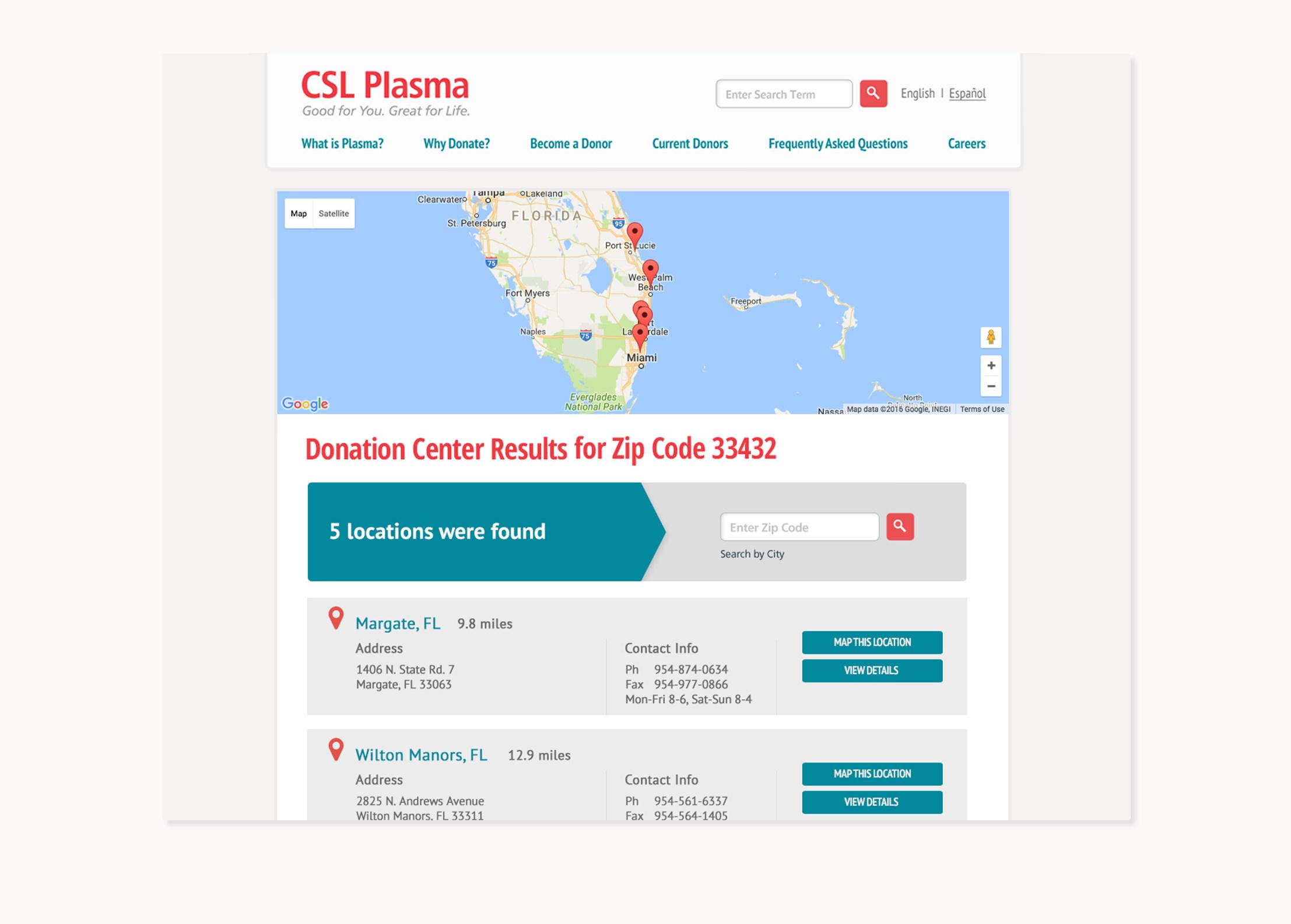 CSL Plasma South Florida Web Design by Battle